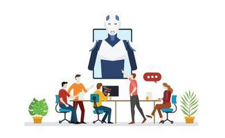 ai artificial intelligence robot team developer programmer vector