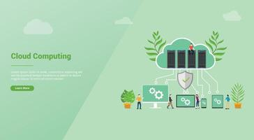 cloud computing concept with database server for website template vector