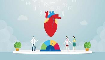 hypertension human heart with team doctor analyze disease vector