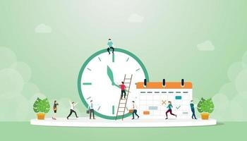 deadline concept with clock and calendar with team people work vector