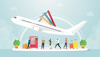 airport transportation with people and plane fly with ticket vector