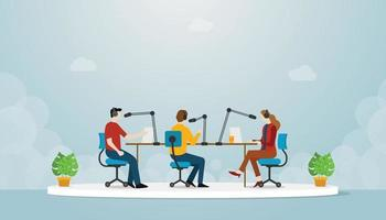 podcast team production with people man and woman sit and discuss vector