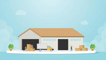 warehouse with truck and goods stack and warehouses employee vector