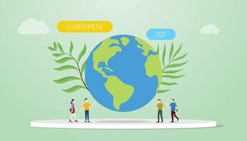 environment day concept with big earth and green plant vector