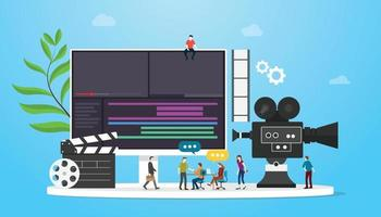 film video production concept with team people and camera editing vector