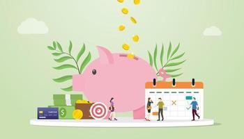 monthly budget planning concept with saving piggy icon and calendar vector