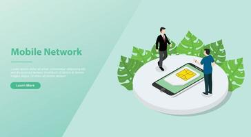 sim card or simcard mobile technology network with smartphone vector