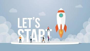 lets start big words concept with team people and rocket vector