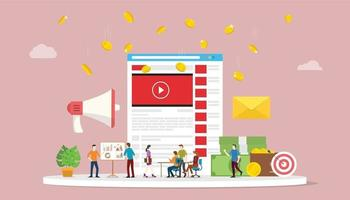 video marketing campaign concept with social media team business vector