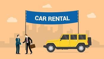 car rentals concept with two men deals share rentals cars vector