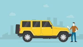success rich man or successfull businessman with lux car and city vector