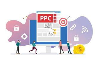 ppc pay per click technology advertising or advertisement concept vector