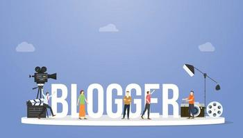 blogger or vlogger concept with big text or word vector