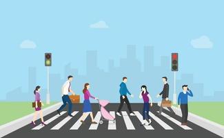 pedestrian walk cross street with team people and traffic light vector