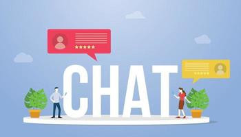 chat big text or word with people chatting and holding smartphone vector