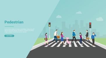 pedestrian crossing for website template or banner landing homepage vector