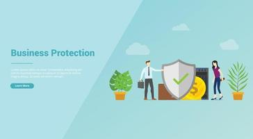 business protection security service for website template or banner vector