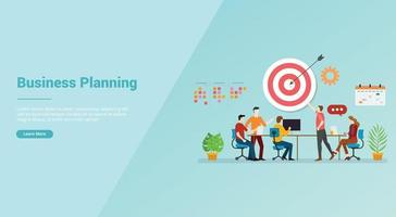 business planning strategy meeting team for website template vector