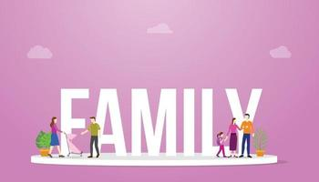 family big word with parents and child together with pink background vector
