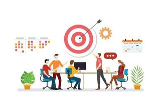 business plan target with team discussion to achieve target goals vector