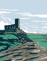 Ruinas del castillo del parque nacional de Dartmoor Inglaterra art deco wpa vector