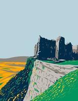 Carreg cennen ruinas del castillo del parque nacional de brecon beacons art deco wpa vector