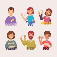 Set of Sign Language People vector