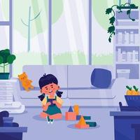 Girl Plays Block Puzzle at Home vector