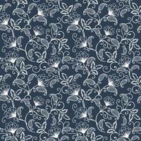 elegante, flores blancas, seamless, patrón, plano de fondo vector