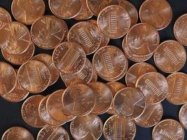 monedas de un centavo de dólar, estados unidos foto