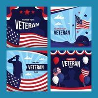 Veteran Day Greeting Card Social Media vector
