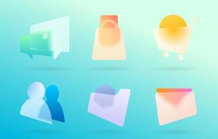 Glass Morphism Icon Collections vector