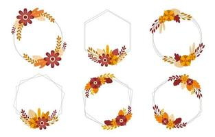 Autumn Floral Badge Template vector