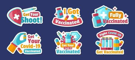 After Vaccine Sticker Collection vector