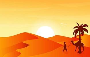 Sahara Desert Travel Tour Camel Arabian Culture Illustration vector