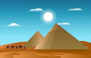 Pyramid Desert Muslim Travel Camel Islamic Culture Illustration vector