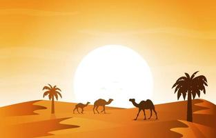 Sunset Arabic Desert Camel Caravan Muslim Islamic Culture Illustration vector