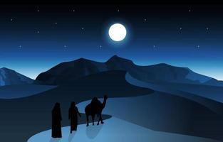 Night Arabic Desert Camel Caravan Muslim Islamic Culture Illustration vector