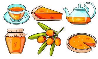 Autumn set. Sea buckthorn, hot tea, teapot, mug, pumpkin pie, jam. vector