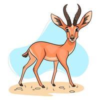 Gacela divertida de carácter animal en estilo de dibujos animados. vector