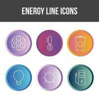 Unique Energy Line Vector Icon Set