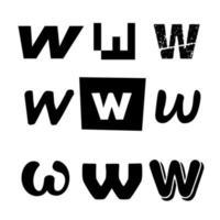 Small Letter W Alphabet Design vector