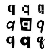 Small Letter Q Alphabet Design vector