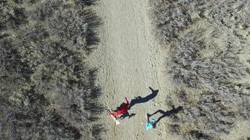jeune homme et femme trail running avec chien sur un sentier de montagne pittoresque. video