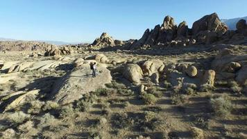 Aerial shot of a young man standing on a boulder with his dog . video