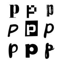 Small Letter P Alphabet Design vector