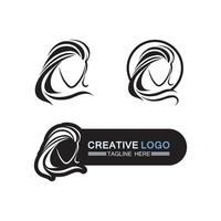 Woman face silhouette and beauty care logo design vector