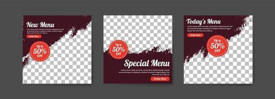 Social media post template for food sales promotion. vector