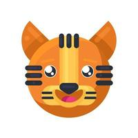 Tiger happy eyes expression funny emoji vector
