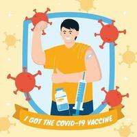 hombre después recibió la vacuna covid-19 vector